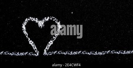 Año Nuevo 2021, corazón hecho de luces de hadas