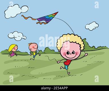 Niños felices volando cometas en el vector de ilustración de stock del parque