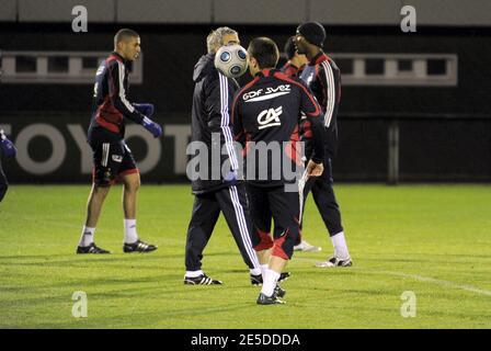 Franck Ribery de Francia durante la sesión de entrenamiento de fútbol en Clairefontaine, cerca de París, Francia, el 18 de noviembre de 2008. Foto de Henri Szwarc/Cameleon/ABACAPRESS.COM