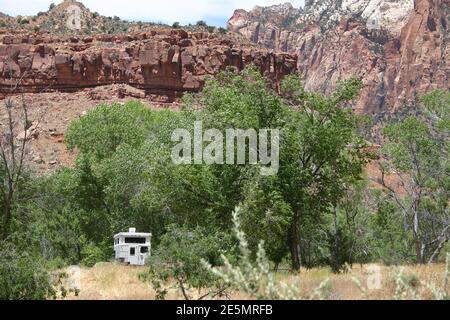 Parque Nacional Zion, Utah, EE.UU., acampada en la naturaleza en su mejor momento! Foto de stock
