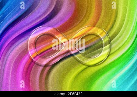 Símbolo de infinito, Eterno, sin fin, signo de infinito, brillo de fondo arco iris