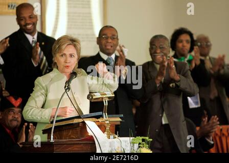 U.S. Senator Hillary Clinton (D-NY) is applauded during her speech at First Baptist Church before a re-enactment of the 1965 Selma to Montgomery march in Selma, Alabama, March 4, 2007. REUTERS/Lee Celano (UNITED STATES)