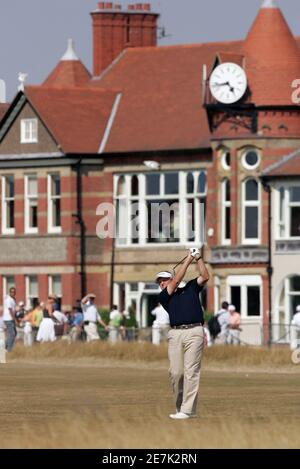 Colin Montgomerie of Scotland hits from the third fairway during a practice round for the British Open Championship at the Royal Liverpool Golf Club in Hoylake July 18, 2006.    REUTERS/Robert Galbraith      (BRITAIN)