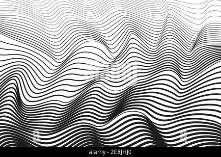Curvas de escuadrón negras, fondo blanco. Diseño de línea de arte abstracto. Ilusión óptica vectorial. Patrón de rayas BW. Radio, concepto de ondas sonoras. EPS10