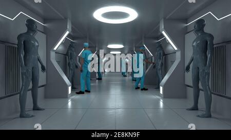 renderización 3d. Escena futurista y figura humanoide