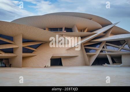 Hermoso Museo Nacional de Qatar Foto de stock
