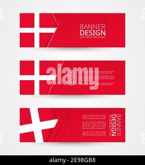 Conjunto de tres pancartas horizontales con bandera de Dinamarca. Plantilla de diseño de banner web en color de la bandera de Dinamarca. Ilustración vectorial.
