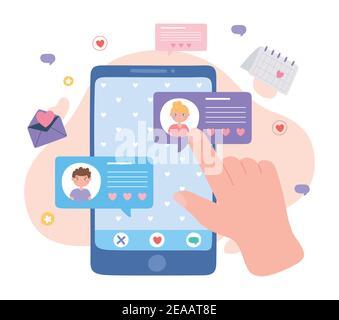 aplicación de citas en línea para smartphone pareja texting vector ilustración