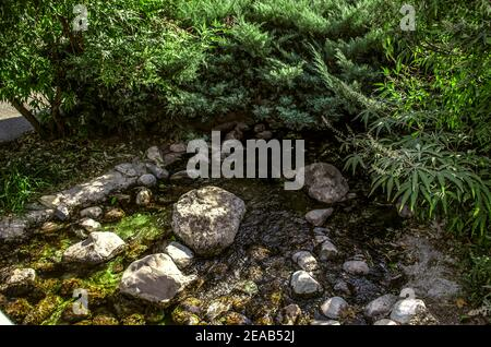Un arroyo artificial que fluye a través de todo el parque con rápidos rocosos y plantas ornamentales creciendo a lo largo de las orillas