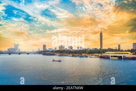 El centro de el Cairo al atardecer