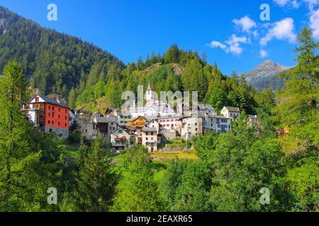 Fusio en el Valle de Maggia, Ticino en Suiza, Europa
