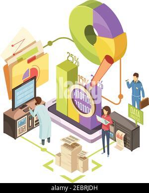Centro de información con equipo de observación de datos de análisis y optimización con elementos infográficos ilustración del vector isométrico