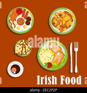 Desayuno irlandés tradicional icono con huevos fritos y salchichas, frijoles y tomates horneados, carne y verduras de raíz estofado, puré de patatas rematadas con ebullición