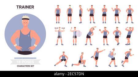 Entrenador deportivo hombre plantea vector ilustración conjunto. Personaje de dibujos animados masculino que muestra los músculos, posando con la pelota, ejercicios con pesas, entrenamiento de pie corriendo en diferentes posturas aisladas sobre blanco