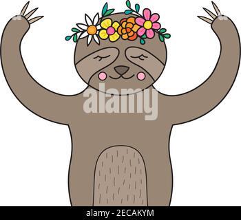 Linda ilustración de vector perezoso. Dibujado a mano bosquejado animal perezoso con corona de flores en la cabeza. Aislado.