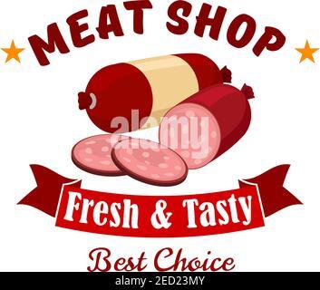 Emblema del negocio de la tienda de carne. Etiqueta vectorial de carnicería con elementos de productos frescos de carne wurst, salami, salchicha ahumada cortada, cinta roja. Diseño
