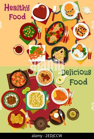 Desayuno y almuerzo conjunto de iconos de frijoles de pollo y fideos de soba, ensalada de carne y verduras, platos de acompañamiento de verduras, estofado de carne, pescado al horno, carne, camarones, cho
