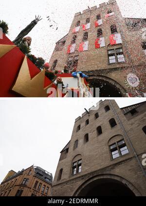 Colonia, Alemania. 15 de febrero de 2021. COMBO - la combinación de dos imágenes individuales muestra el Severinstorburg, frente a la cual Jecke lanza confetti de un flotador durante el Rosenmontagszug (o, 24.02.2020), y en la actual Rosenmontag. (A dpa 'Lunes en Colonia: Calles vacías - y un flotador de Düsseldorf') crédito: Oliver Berg/Rolf Vennenbernd/dpa/Alamy Live News