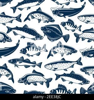 Peces patrón sin costuras de peces vectoriales. Pesca de atún, lucio y aguja o perca, bream, salmón y platija o crisol, carpa y caballa spra