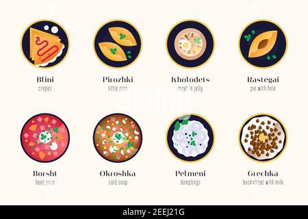 Cocina tradicional rusa - conjunto de ilustraciones aisladas. Platos de comida rusa con nombres auténticos y traducir. Sabor de Rusia - pegatinas, iconos