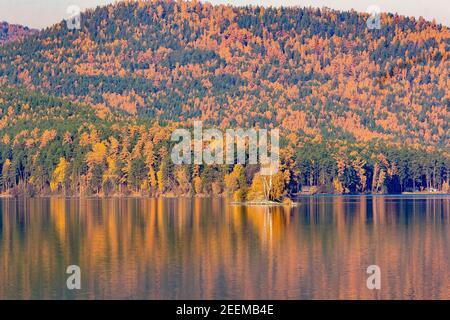 Paisaje otoñal del lago sobre el fondo de los árboles de colores en las montañas. En el lago hay una isla con abedules, un hermoso refle