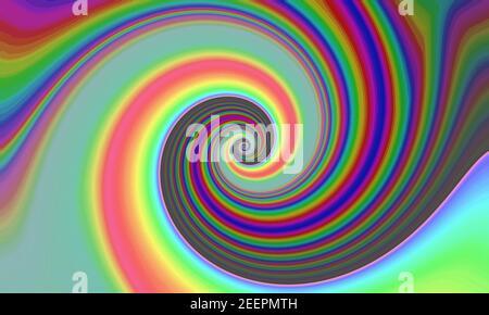 ondas retorcidas de espiral en colores arcoiris. fondo de fondo de ilusión vertiginosa. mezcla de colores degradados. imagen giratoria. Foto de stock
