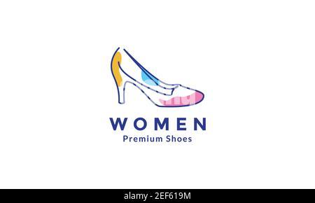 mujer zapatos línea colorido logo símbolo vector icono ilustración diseño Foto de stock