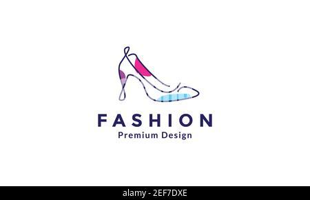 mujer zapatos línea moderna arte colorido logo diseño vector icono ilustración de símbolos Foto de stock