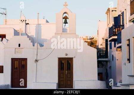 Fachada de una iglesia, Mykonos, Islas Cícladas, Grecia