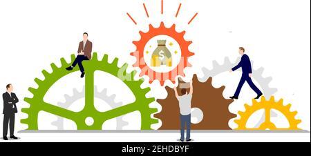 El éxito empresarial (dinero) concepto de ilustración vectorial. Rueda dentada y personas.