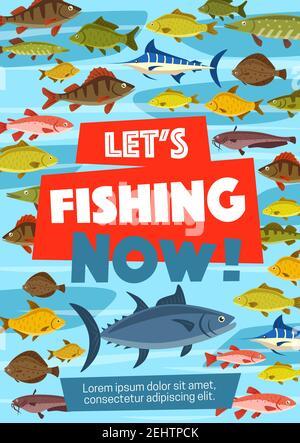 Cartel deportivo de pesca con peces de mar y río. Carpa y atún, caballa y lucio, salmón y arenque, trucha y aguja. Crisol y lucio, pipedo en