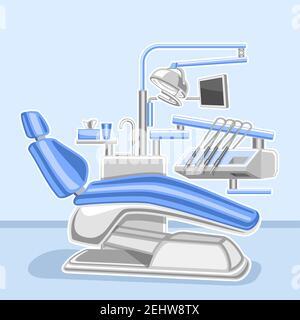 Póster vectorial para Clínica Dental, señalización de diseño cuadrado con ilustración de gabinete dental interior, cartel decorativo con eq médico profesional