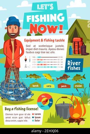 Infografía de pesca con equipo deportivo de pescadores y gráfico de aparejos, gráfico de tarta con anzuelo, red y cebo, carpa, perca y crisol, carpa, fogata, de vuelta