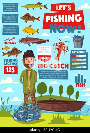 Pesca y equipo de pesca, pesca deportiva vector infografía. Pescado en red, crisol y arenque, cangrejo de río o langosta y bagre, carpa y aguja,