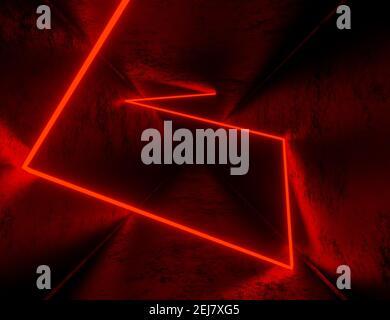 presentación en 3d, fondo de túnel abstracto con luces de neón rojas