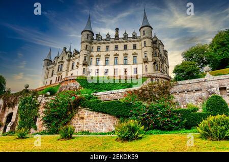Dunrobin Castillo. Sede de la familia del conde de Sutherland con 189 habitaciones es la gran casa más grande en las tierras altas del norte, Golspie, Escocia