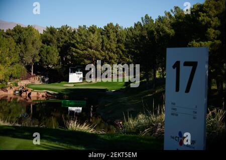 17 de octubre de 2020; las Vegas, Nevada, EE.UU.; Una vista general del hoyo 17 antes de la tercera ronda del torneo de golf CJ Cup en el campo de golf Shadow Creek. Crédito obligatorio: Kelvin Kuo-USA HOY Deportes/Sipa USA