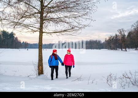 Pareja de ancianos caminando sosteniendo las manos en el parque nevado de invierno