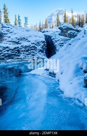 Río caballo de patada en el Puente Natural en el Parque Nacional de Yoho, Canadá