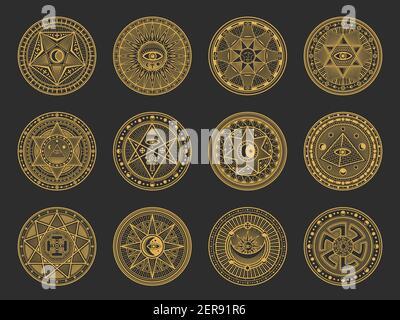 Símbolos mágicos con alquimia vectorial y ciencia oculta, religión esotérica y signos místicos de la astrología. Círculos de oro con Sol, Luna y ojo espiritual, tri