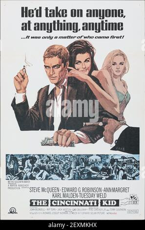 El chico de Cincinnati. Steve McQueen, Edward G. Robinson, Ann-Margret, Karl Malden. Póster de película clásica / película