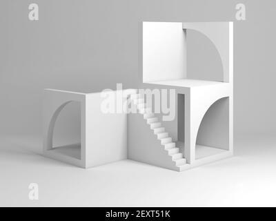 Resumen de la instalación arquitectónica blanca. Bloques de cubos con arcos y escalera, 3D ilustración de la representación