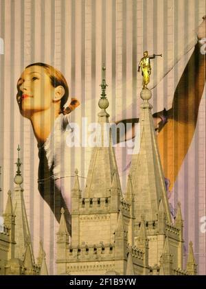 LA HISTORIA DE LOS DEPORTES DE KRT SE SLUGED: OLIMPIADAS KRT FOTOGRAFÍA POR MARK REIS/COLORADO SPRINGS GAZETTE (febrero de 10) UN gráfico gigante de un patinador está enmarcado entre las agujas del Templo Mormón en el centro de Salt Lake City, Utah. Los edificios de toda la ciudad están colados con las enormes fotos. (Foto de GT) BL NC KD 2002 (Vert) (lde)