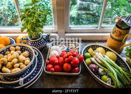 repisa de ventana con fruta fresca y verduras, tomates de ajo menta naranjas setas rojo cebolla limas limones cebolletas nuevas patatas