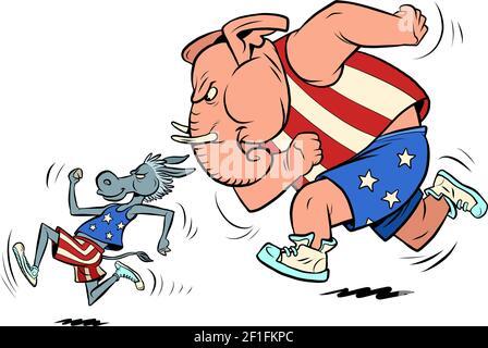 republicanos y demócratas burro y elefante