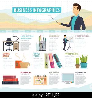 Plantilla infográfica de elementos de negocio con mobiliario de equipo de oficina y herramientas ilustración vectorial