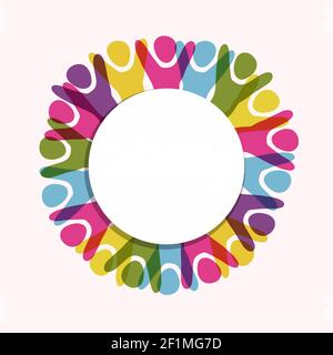 Marco blanco vacío con gente colorida para el concepto de la comunidad diversa o diseño de la celebración de la amistad sobre fondo aislado. Foto de stock