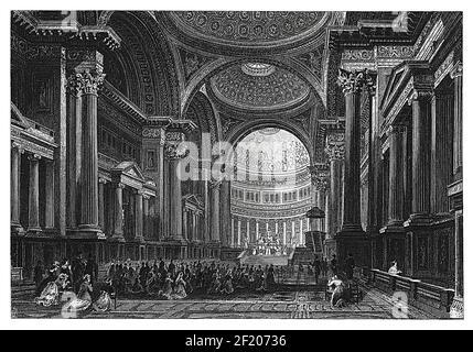 Antigua ilustración del interior de la iglesia de la Madeleine en París, Francia, del siglo 19th. Publicado en Systematischer Bilder-Atlas zum conversations-L.