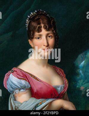 Retrato de Hortense de Beauharnais, Reina de Holanda, esposa de Luis Napoleón, Rey de Holanda. Busto a la derecha con una corona en el pelo, a la plataforma