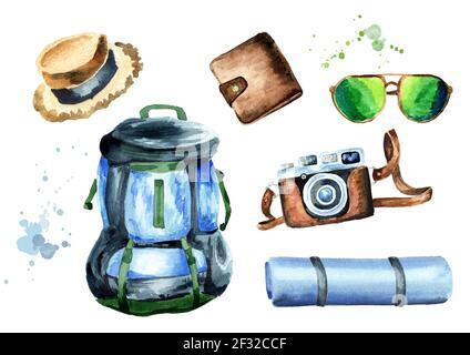 Conjunto turístico con mochila, colchoneta de camping, sombrero de paja, cartera, cámara y gafas de sol. Aislado sobre fondo blanco. Ilustración de acuarela dibujada a mano
